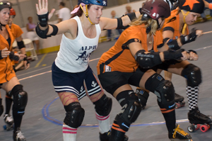 Local Waynedale resident Jennifer Oetting (skater name: PushyCat) is the Co-Captain of her roller-derby team Alpha Dollz.