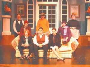 The cast of Neil Simon's comedy, God's Favorite (front) Paul Berghoff, Nathan Krueckeberg, Becca Coffelt, (middle) Sarah Smith, Kurtis Plohr, (back) Jayson Barrand, Jordan Plohr, Liz Jones.