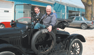Fredus (Pete) Nelson Peters III was seen cruisin' around Peters Body Shop with his grandson, Fredus Nelson Peters V.
