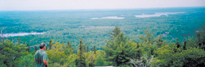 Boyd Tarney looks back to the Bear Lake island camp (top right of picture) from the top of the La Cloche Mountains. Howery and Cat Lakes are to the left. June 8th, 2008.