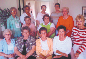 Front row: Carol Ann (Lee) Winans, Delores (Moser) Schlenger, Pat (Sorlie) Heckley, Carolyn (DeBolt) Yager and Norma Jean (DeBolt) Ploughe.