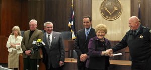 (L-R) Mayor Tom Henry, Councilman Tom Didier, City Clerk Sandy Kennedy and Marty Bender at press conference in Council Chambers on Tuesday, January 6, 2009.