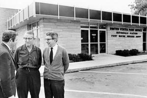 Allen County Library Archives/News Sentinel, June 6, 1970 (l-r) Postmaster Eugene J. Gabriel; Elmer Spahr, president of Waynedale Lions Club; Robert Freiberger, Stations Superintendent.