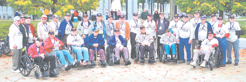 Honor Flight attendees from Northeast Indiana-many of them Waynedale residents-at the World War II Memorial, Washington, D.C. Saturday, October 24, 2009