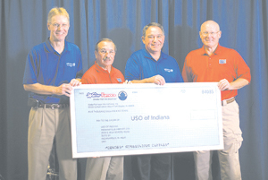 WaterFurnace presents $5,000 check to USO of Indiana. (L-R) Carl Huber, VP of Quality at WaterFurncace International, Larry Muncie, President and CEO of USO of Indiana, Tom Huntington, President and CEO of WaterFurnace International, and Bob Legacy, Treasure of USO of Indiana.