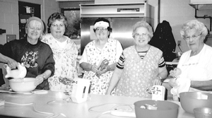 Armatha Green, Ann Ferguson, Millie Ferguson, Marge Norton and Pat Noel are some of the many United Methodist Women of Waynedale United Methodist Church who have prepared food for the Church Street Bazaar.