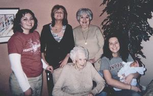 Tiffany (Borne) Oury, Cheryl Borne, Bonnie Parquette, Ceil Parquette, Courtney Borne and Laycin LeAnn Miles celebrate 5 generations.
