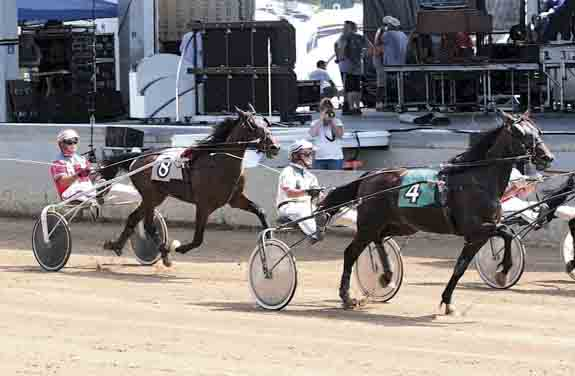 Chipper Doodle was 1 of 8 two-year-old trotter fillies at the Elkhart Racing Track competing in Race 3.