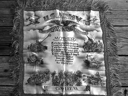 "A WW II souvenir ""Mother"" pillow and its sentimental poem."