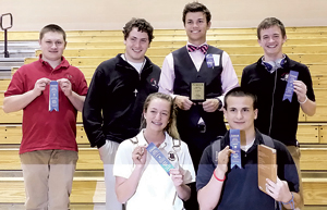 Top L to R– Isaiah Fisher, Mark Hellinger, Nathan Grabner, Jonathan Baum Bottom L to R– Makenna Zwick, James Slocum