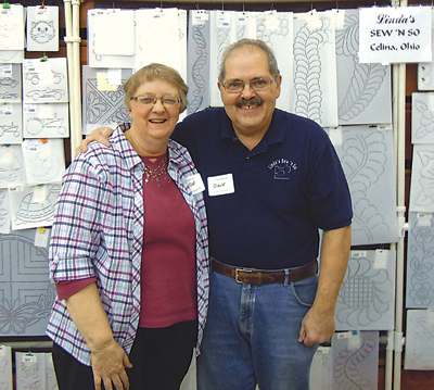 Linda and David Huston and their wall of stencils have left their mark on hundreds of quilts.